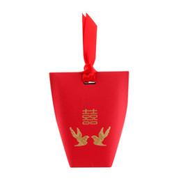 Chinesische rote süßigkeiten-boxen online-200pcs Hochzeits-Geschenk-traditionelle chinesische rote Pralinen-Kasten mit Band-Elster-Goldfolie-Hochzeits-Bevorzugungs-Geschenk-Kasten jc-285