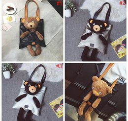 Wholesale Large Plush Bears - 2018 New Handbags High Quality PU leather Women Bag Cute Little Bear Doll Shoulder Bag Large-capacity Plush Bear Female Bag