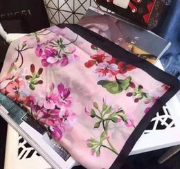 Wholesale long scarf wrap - Luxury Brand Silk scarf for Women 2018 Spring Designer Floral Flower Long Scarves Wrap With Tag 180x90Cm Shawls S223