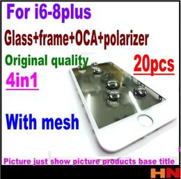 2019 batería de la caja xperia 20 unids Malla del auricular 4in1 Prensa fría para iPhone 8 7 6 6 s más Pantalla frontal Cristal exterior + Marco OCA + Reparación de pantalla polarizador Reemplazo