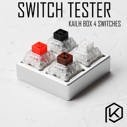 Wholesale White Box Switch - aluminum Switch Tester 2X2 silver for kailh box switches black red brown white RGB SMD Switches Dustproof Switch