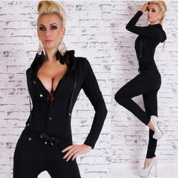 Wholesale Dance Rompers - 2018 Spring New Fashion Womens Single Buon Dance Jumpsuits Sexy Ladies Slim Fit Hooded Casual Rompers Black Fast Shipping