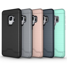 Wholesale Galaxy Credit - For Samsung S9 Case Hybrid Armor Brushed Holder Credit Card Pocket Cover Case With Kickstand For Samsung Galaxy S9 S9plus