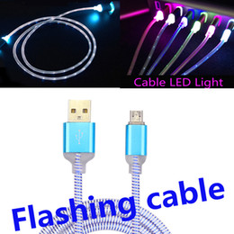 Wholesale Visible Led Usb Charger - Flowing LED Visible Flashing USB Charger Cable Colorful Light Up Cord Lead for Samsung S7 S6 NOTE 5 Smart phones