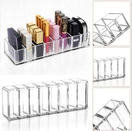 Wholesale acrylic show box - Acrylic Cosmetics Makeup Organizer Show Shelf Rack Durable Desk Nail Polish Lipstick Storage Box Desk Organizer OOA4634