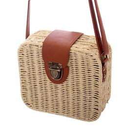 Wholesale Mini Knitting - Women 'S Handbags Mini For 2017 Girls Creative Square Straw Crossbody Bag Beige Small Shoulder Bags For Women Bag Bolsa Feminina