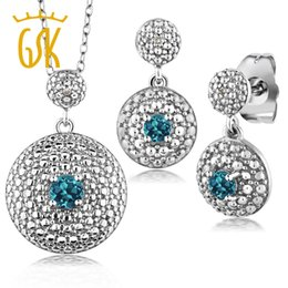 Pendenti londra online-Gemstone Orecchini pendenti placcati rodio Set 0,58 Ct Natural London Blue Topaz Diamond Jewery Sets For Women