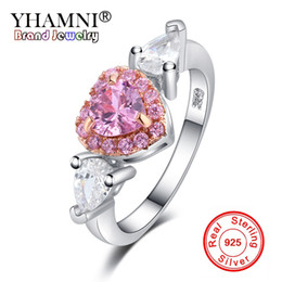 jewelry set african pink Coupons - YHAMNI 100% 925 Sterling Silver Angel Wings Pink AAA CZ Zirconia Love Heart Wedding Jewelry Rings for Women Ring Gift YRA0226