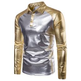 Argentina Polo metálico recubierto de oro brillante Hombres de lujo Polos casuales Diseño de manga larga Camisa Polos Hombres Polo de costura de raglán Hombres cheap mens gold polo Suministro