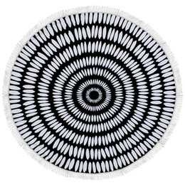 Wholesale Thick Fringe - Feather Indian Large Microfiber Towel Beach Mandala Round With Fringe Tassels Roundie Thick Terry Beach Picnic Blanket Mats
