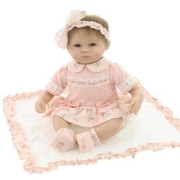 Wholesale Little Girls Baby Dolls - 18inches lifelike reborn doll baby soft silicone vinyl real touch doll lovely newborn baby Gift for Little Girl