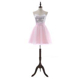 Canada Robes de soirée rose une ligne manches courtes mini tulle plus la taille des robes de bal paillettes élégantes robes de cocktail arc dos nu DH378 Offre