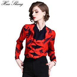 Blusas de la blusa formal online-Volantes de las mujeres de la blusa de la oficina 2018 moda cuello alto de la manga de impresión camisa de la blusa de la gasa roja OL trabajo formal de la camisa de las señoras Tops