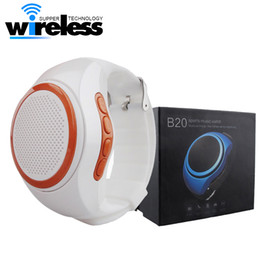 Wholesale yellow speaker - B20 Bluetooth Sports Music Speaker Watch Portable Mini Watch With Hands-free EDR Sport Speaker TF Card FM Audio Radio Speakers
