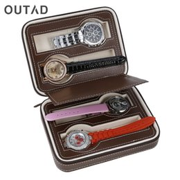 Wholesale Antique Travel - OUTAD Durable Perfect 4 8 Slots Leather Jewelry Watch Collection Bag Storage Organizer With Zipper Portable Accessory For Travel