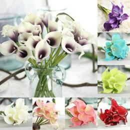 lirios de bodas Rebajas 33 colores PU Calla Lily Artificial ramo de flores Real Touch Party Decoraciones de la boda Flores falsas Decoración para el hogar 38 cm * 6 cm