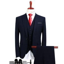 Argentina POSHAWN traje azul marino oscuro para hombre smoking 3 piezas chaqueta + chaleco + vestido formal para hombres 2018 trajes para slim fit traje masculino supplier dark navy vest Suministro