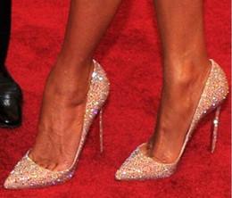 Canada 2019 gros-mode mariée strass cristal dimaond paillettes haut talon parti bal des pompes à fond rouge 2015 talons d'or sexy chaussures de mariage cheap gold bottom heels Offre