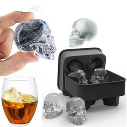 Wholesale chocolate decorating - Skull Shape 3D Ice Cube Mold Maker Bar Party Silicone Trays Halloween Mould Gift Chocolate Decorating Candy Pastry Mould CCA9443 200pcs