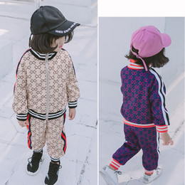 twinset kleidung Rabatt 2 Stück Sets Mädchen von Indien Muster Anzug koreanische neue Muster Herbst Baby Zipper Sweater Hosen Twinset Kinder Kleidung Kinder Kleidung