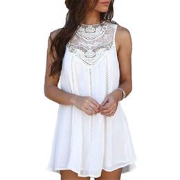 vestidos de clube de renda branca Desconto Womens vestidos de verão verão lace branco mini vestido de festa sexy club casual beach sun dress plus size