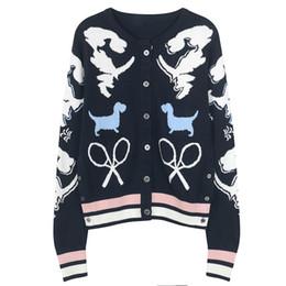 2018 nuovo marchio stesso stile grigio / blu navy O-collare cani stampa jacquard maglione donna sciolto maglia Top maniche lunghe cardigan donna 50 da