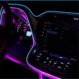 voiture légère froide Promotion 2m de voiture lumières décoratives conduisant à la nuit lumière ambiante el ligne froide diy porte de console de tableau de bord décoratif avec lecteur 12v