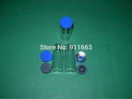 Flaconi di vetro tappi in gomma online-100 set / lotto, 10 ml, flaconcini in vetro trasparente con tappo in gomma butilica da 20 mm e tappi di riempimento colore blu da 20 mm, bottiglie in vetro