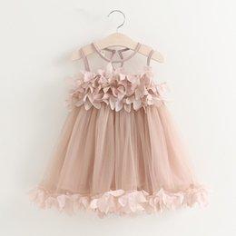 Wholesale Girl Christmas Tutu - Vieeolove Girls Kids Dresses 2018 New Summer Childrens Sleeveless Kids Clothing Floral Lace Cake Wedding Dress VL-649
