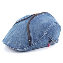 2019 sombrero irlandés 2pcs   lot 2018 Washed Denim Zipper Newsboy Cap  Mujeres casuales Solid Cabbie 614f061c4ae