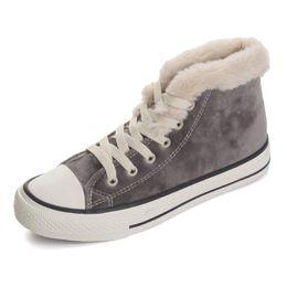 Argentina Botas para la nieve 2019 Venta caliente Nuevas Mujeres Botas de invierno Dulce más terciopelo Botines Mujer Color sólido Cordón zapatos de algodón acolchado supplier padded shoe laces Suministro