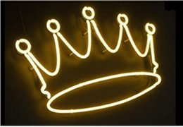 Neon Signs Gift Yellow Crown Beer Bar Pub Store Party KTV Flower Shop Room Wall Windows Display Neon Light 17x14