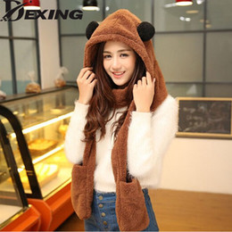 Wholesale mitten scarf - [Dexing]Womens panda hat fur hood scarf Mens Hat Ear Flaps Hand Pockets Plush Winter Warm Cap with Long Scarf Mittens Gloves