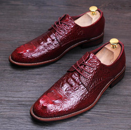 Men's Shoes 2018 Brown Black Crocodile Skin Leather Business Shoes Flats Lace Up Full Grain Leather Formal Casual Dress Shoes Wedding Boot Beautiful And Charming Shoes