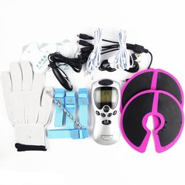 Brustring bdsm online-6 in 1 Elektroschock Bondage Kits Schätzung Stimulation Penis Penisring Brustmassagegerät Handschuhe Anal Harnröhren Plug BDSM Sexspielzeug Für Paare