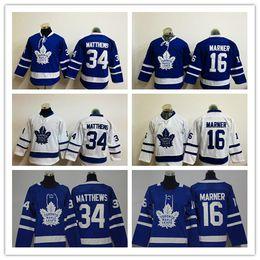 Kinderhockey trikot online-2018 Neue Jugend 34 Auston Matthews Jersey Toronto Maple Leafs Blau Weiß Kinder 16 Mitchell Marner Uniformen Trikots Hockey Jungen Kind Gut