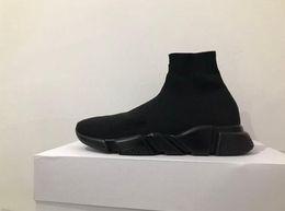 Wholesale Cheap Plain Cotton Fabric - Cheap Men Speed Mid Trainer Knit Sock Sneaker black men Running sport shoes Knit Sock slip on boots Men sport sneaker
