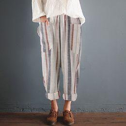 Wholesale cotton linen trousers women - ZANZEA 2018 Summer Women Striped Pants Elastic High Waist Cotton Linen Harem Pants Pantalon Femme Trousers Sweatpants Plus Size