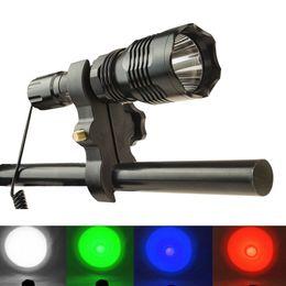 2020 luz azul levou lanterna HS-802 Caça Lanterna LED Verde / vermelho / azul / branco Luz Tocha 300 Metros Tático Lanterna Da Tocha Da Lâmpada + Interruptor de Pressão Remoto + Arma de Montagem desconto luz azul levou lanterna