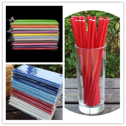 Wholesale eco paper straw - Solid color drinking straws 19.7*0.6cm straight disposable eco-friendly biodegradable paper pipes for birthday wedding party wholesale