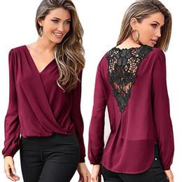 women s long sleeve tee shirts lace Australia - Chiffon Blouse 2018 New Fashion Women Long Sleeve Blouse Sexy Lace Chiffon Top Casual Tee Shirt Femme Blusas S-XXL