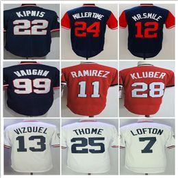 Wholesale Mr Red - 2018 Men's Throwback Jerseys 11 Jose Ramirez 12 Mr Smile 22 Jason Kipnis 28 Corey Kluber 25 Jim Thome Baseball Jersey Stitched
