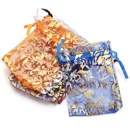 Saquinho de natal on-line-Saco De Organza Bolsas Rose Padrão Aberto Sachê Perfumado Drawable Saco De Doces Presentes De Casamento De Natal Sacos de Jóias Bolsas 100 pçs / lote Cor Mix