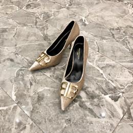 dekorative schuhschnallen Rabatt Französische Luxus-BaIen-Claga-Damen im europäischen und amerikanischen Stil Flock High Heels dekorative BB Brief Schnalle Schuhe SilkFlock High Heels 35--40