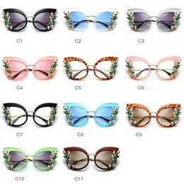 Wholesale Outdoor Eyewear Glasses - 11 Colors Womens Oversized Cat Eye Rhinestones Sunglasses Flat Mirror Metal Frame Glasses Outdoor Eyewear CCA9407 10pcs