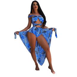 Biquíni azul alaranjado on-line-Atacado Seaside Sexy Biquíni Set Folha Impresso Feminino Cachecol / Blusa + Sexy Strap Bikini Dividir Swimsuit S-XL Roxo / Azul / Vermelho / Laranja nadar desgaste