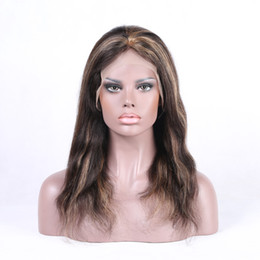 Wholesale Highlighted Remy Hair - In stock full lace human hair wigs with highlights 1B HLS 27# body wave Brazilian Peruvian Malaysian blonde women's remy hair wigs