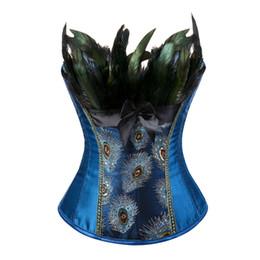 2019 corsets taille 2xl Paon Broderie Princesse Burlesque Overbust Corset Gothique Plume Vêtements Body Shaper Bustier pour Femmes Taille S-6XL corsets taille 2xl pas cher