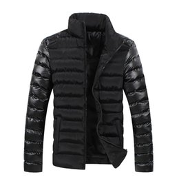 Wholesale Leather Sleeve Denim Jacket - 2017 Winter Warm Men Jacket Stand Collar Zipper Fly Breathable Plus Size Down Coats Casual Leather Sleeve Stitching Denim Jackes