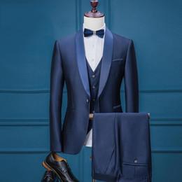 Wholesale Royal Blue Wedding Veils - Groom Wear Tuxedo Men Wedding Suits Slim Fit Royal Blue Groom Suits For Wedding Formal Suits 3 Pieces (Jacket+Veil+Pants) SG004